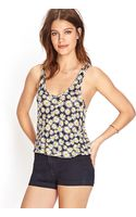 Forever 21 Daisy Print Crop Top - Lyst