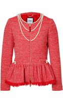 Moschino Knit Jacket With Pearl Embellishment - Lyst