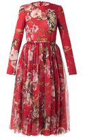 Dolce & Gabbana Floral and Animalprint Silk Dress - Lyst