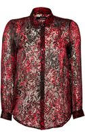The Kooples Silk Blend Burn Out Shirt in Red - Lyst
