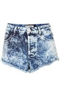 Topshop Moto Brooke Acid Denim Hotpants - Lyst