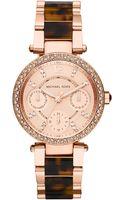 Michael Kors Ladies Parker Rose Goldtone Tortoise Chronograph Glitz Watch - Lyst