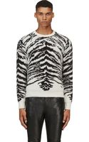 Saint Laurent Black and Ivory Tiger Mohair Sweater - Lyst