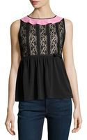 RED Valentino Sleeveless Lace Fitandflare Top - Lyst