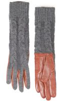 Violeta By Mango Leather Long Gloves - Lyst