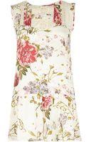 River Island Cream Floral Print Frill Hem Tunic - Lyst