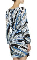 Emilio Pucci Longsleeve Featherprint Dress with Chainstrung Neck - Lyst