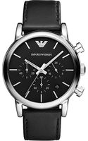 Emporio Armani Stainless Steel and Leather Watch Black - Lyst