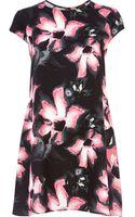 River Island Black Lily Print Swing Dress - Lyst