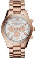 Michael Kors Womens Chronograph Layton Rose Goldtone Stainless Steel Bracelet Watch 43mm - Lyst
