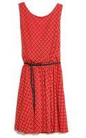 Mango Belted Printed Dress - Lyst