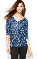 Inc International Concepts Petite Animalprint Vneck Sweater - Lyst