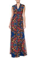 Alice + Olivia Womens Alice Olivia Marianna Printed Buttonfront Maxi Dress - Lyst