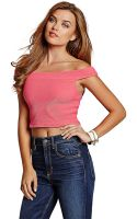 Guess Off The Shoulder Crop Top - Lyst