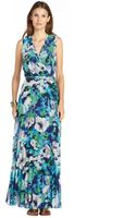 Donna Morgan Floral Printed Pleated Chiffon Mock Wrap Maxi Dress - Lyst