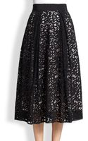 Milly Lace Midi Skirt - Lyst