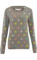 Chinti And Parker Grey Mini Star Intarsia Cashmere Jumper - Lyst