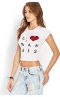 Forever 21 Love Français Cropped Tee - Lyst
