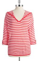 Calvin Klein Striped Hi-lo V-neck Sweater - Lyst