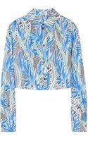 Kenzo Cropped Printed Cotton Shirt - Lyst