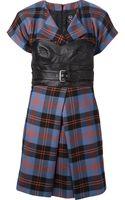 McQ by Alexander McQueen Leather Bustier Tartan Dress - Lyst