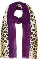 River Island Purple Leopard and Floral Print Scarf - Lyst