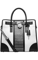 MICHAEL Michael Kors Hamilton Studded Leather Large Northsouth Tote Bag - Lyst