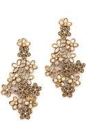 Oscar de la Renta Crystal Flower Clip On Earrings - Lyst