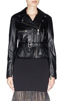 McQ by Alexander McQueen Flared Peplum Leather Jacket - Lyst