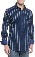 Robert Graham Mantis Striped Sport Shirt Navy - Lyst