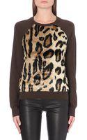 MICHAEL Michael Kors Faux Fur-panel Knitted Jumper - Lyst