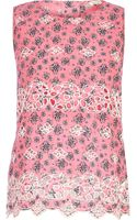 River Island Pink Abstract Print Cut Out Shell Top - Lyst