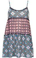 Topshop Petite Tile Print Pom Pom Tunic - Lyst