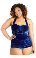 Esther Williams Swimwear Bathing Beauty One Piece in Blue Velvet Plus Size - Lyst