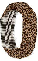 Tory Burch Leopardprint Striped Infinity Scarf - Lyst