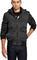 Guess Mixed Media Hooded Jacket - Lyst