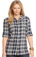 Lauren by Ralph Lauren Plaid Cotton Shirt - Lyst