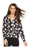 Inc International Concepts Polka-dot Surplice Blouse - Lyst