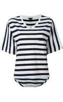 Theory Striped V-neck T-shirt - Lyst