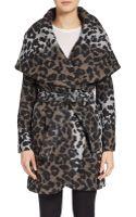 T Tahari Leopard Print Wrap Coat - Lyst