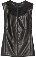 Derek Lam Guipure Lacetrimmed Leather and Jersey Top - Lyst