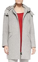 Vince Rabbit Furlined Hood Felt Coat - Lyst