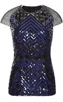 J. Mendel Short Sleeve Embroidered Top - Lyst