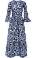 Mother Of Pearl Lyra Printed Silk and Woolblend Midi Dress - Lyst
