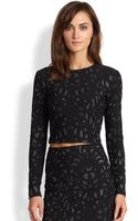 Parker Luna Metallic Jacquard Cropped Top - Lyst