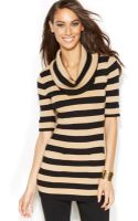 Inc International Concepts Ribbed-knit Cowl-neck Metallic-striped Sweater - Lyst