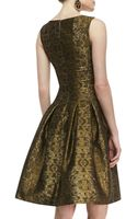 Oscar de la Renta Pleated Aline Brocade Dress - Lyst