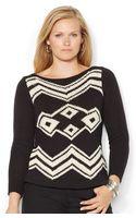 Lauren by Ralph Lauren Plus Size Southwestern Intarsia Sweater - Lyst