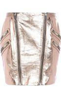 River Island Rose Gold Metallic Leather Mini Skirt - Lyst