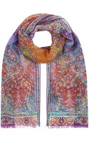 Etro Placed Paisley Silk Scarf - Lyst